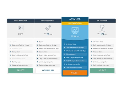 Pricing Plans travel hotel product design ui plans pricing