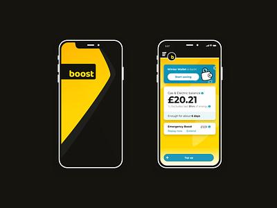 Boost power mobile app re-design iphone design ui mobile ui energy drink top-up splash mobile app energy