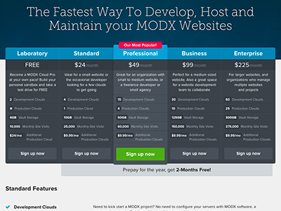 Pricing Grid pricing grid sign up modx