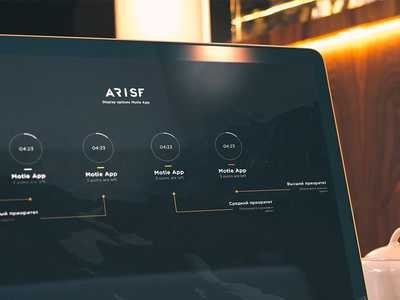 Motie App WIP status action font design ux ui project timer time arise mockup wireframe