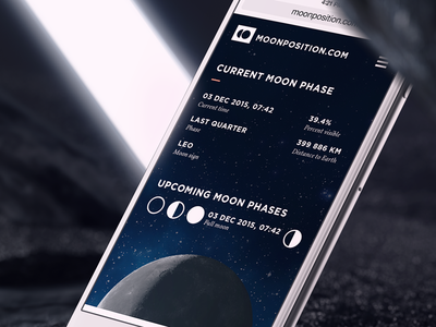 Arise Creative Agency | Moonposition sign time percent phase galaxy safari responsive web ux ui position moon