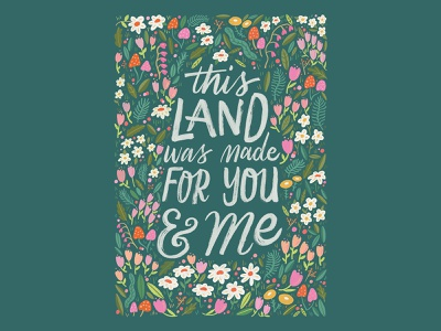 This Land Was Made For You & Me - Lettering song ink design procreate sketch hand drawn type typography type hand lettering lettering