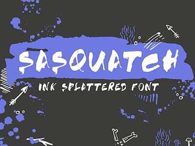 SASQUATCH good type hand lettering lettering coke can splattered ink sasquatch font
