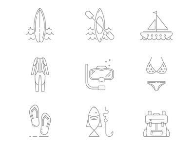 Camp Icons line icon backpack fishing flip-flops swim suit snorkeling wetsuit boat kayak surfing camping