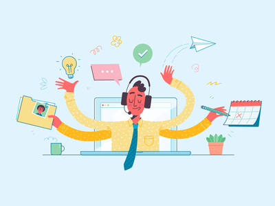 Virtual assistant multi-tasking cliniko virtual assistant vector illustration