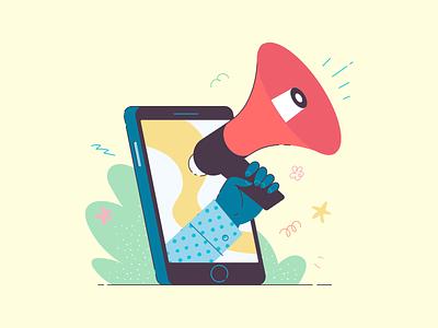 Digital marketing cliniko illustration vector promotion mobile megaphone marketing