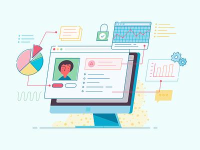 Data driven healthcare practice patient healthcare charts monitor computer data illustration vector