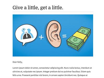 Tell your friends vectors illustration blue speech bubble ear cash money referral