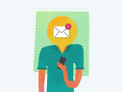 Notificationhead email message reminder character illustration