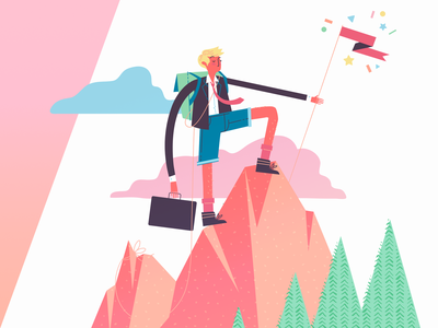 Business management grow lead trees clouds man flag briefcase climb mountain manage business