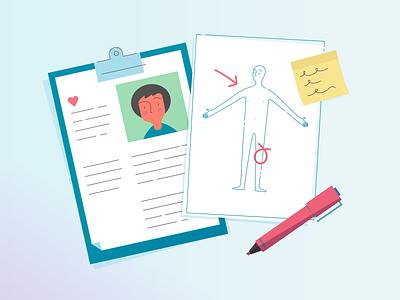 Health records vector illustration pen clipboard note chart health record