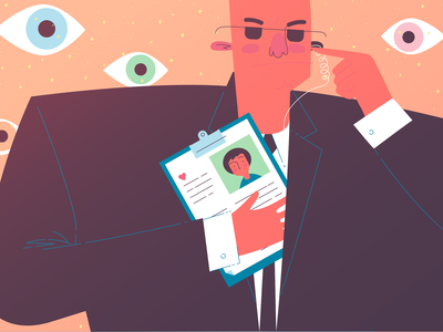 Secure personal data eyes spy privacy records protection bodyguard security secure vector illustration