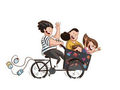 Wedding illustration cute family bike wedding