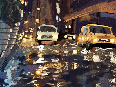 City Scene nyc rain