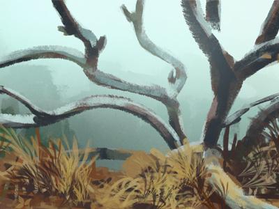 daily sketch sketch tree forest mist fog