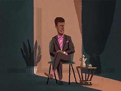 waiting for.. coffee chris turnham illustration suit pink light noir shadow