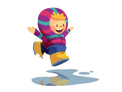 Autumn begins rain character illustration jump kid puddle autumn