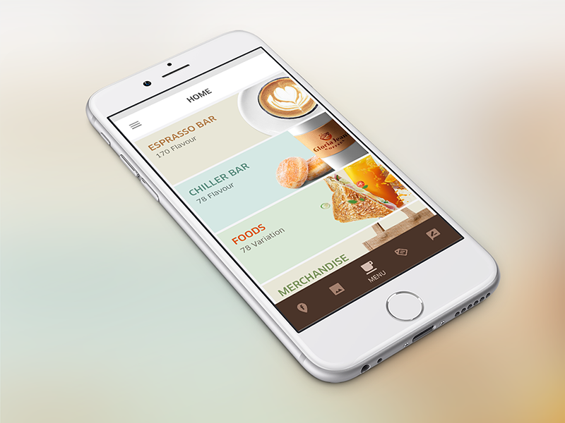 Home Concept - Gloria Jean's Coffee android ux ui mobile menu food jeans gloria concept app home coffee