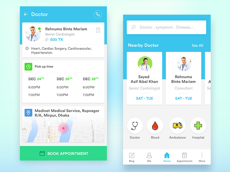 Doctor Appointment Mobile App Concept by Audacity IT Solutions Ltd