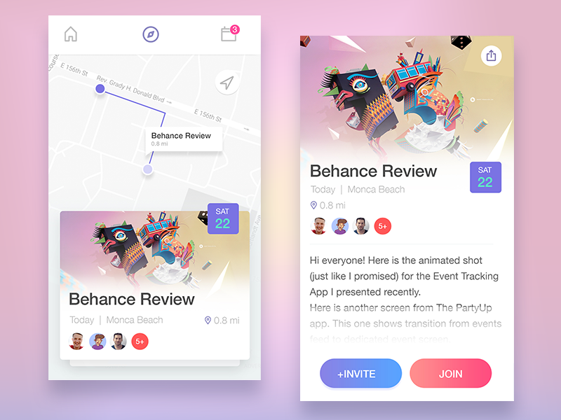 Event Mobile App Concept navigation map review behance ios android ux ui concept design app event