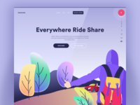 Rideshare Web Landing UI and Illustration