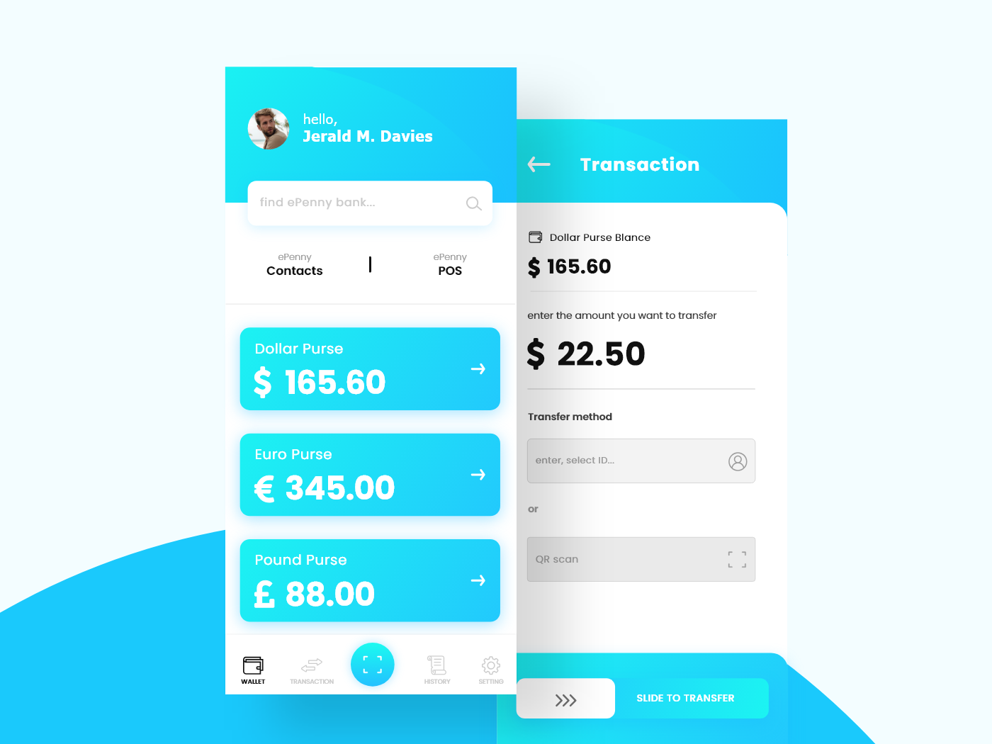 Wallet and transaction concept white cyan transaction wallet