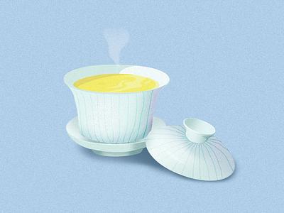 Oolong tea and gaiwan teatime calm zen japan china korea taiwan tea greentea oolongtea oolong gaiwan illustration