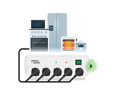 power strip - overload heater refrigerator microwave ricecooker oven electronics powerstrip illustration