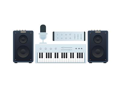 musical instruments music mic synthesizer speaker illustration