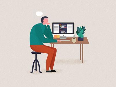 Illustratuin for Elice: student trouble worry mac dest vector illustration programming coding