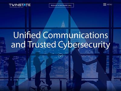 Twinstate Technologies Homepage Hero hubspot myriad pro minimalist overlay hero blue twinstate