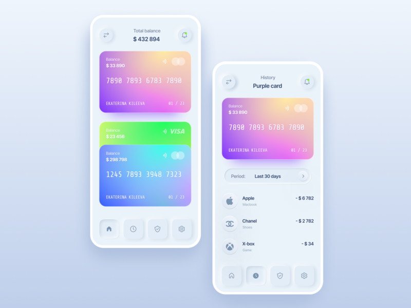 Bank card bank card layout clean app concept ui