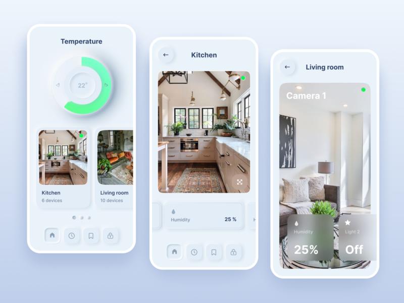 Smart home app ui ux skeuomorphic popular neomorphism iphone device clean ui camera app dailyui app smarthome layout clean design concept