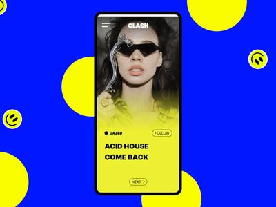 CLASH Media design app layout media clean concept ui