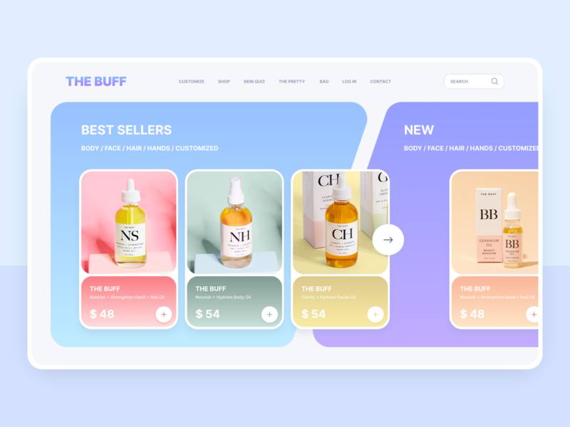 THE BUFF Cosmetics Online store design cosmetic concept girl