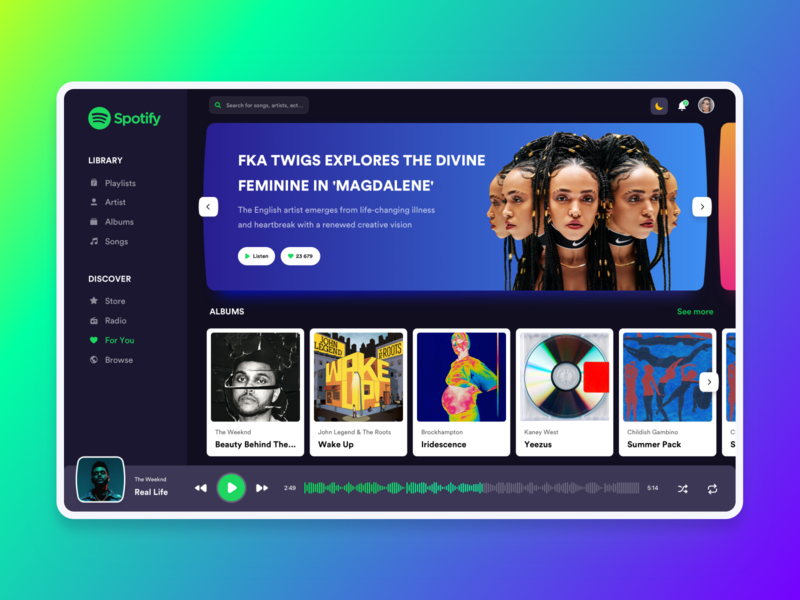 Spotify concept music app music player music spotify light mode dark mode layout clean design concept ux ui