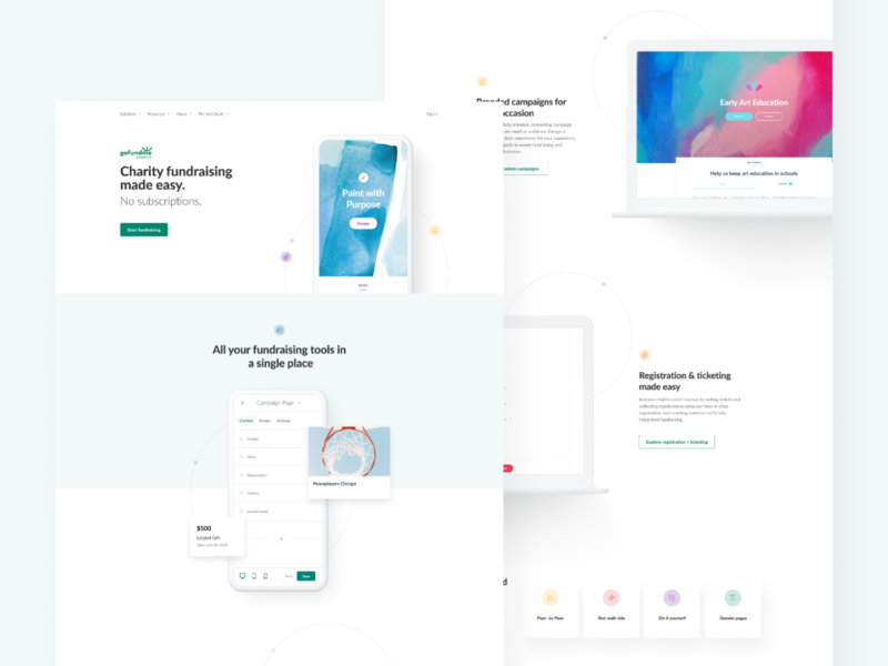 Charity landing page concept visual design startup charity landing page ui