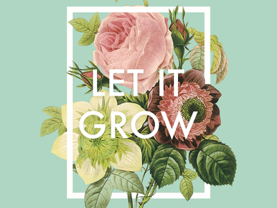 Let it grow typography illustration