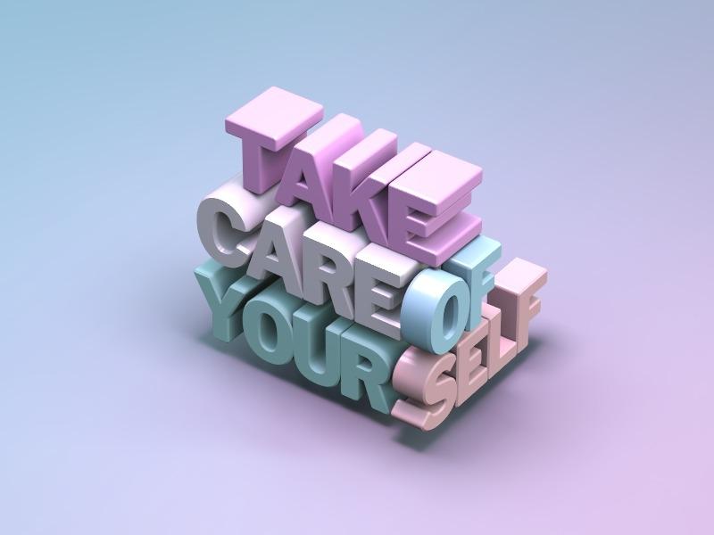 Take care illustration 3d typography