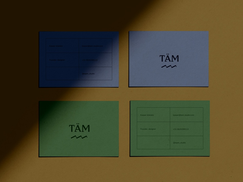 TÄM Business Cards typography branding business card logo