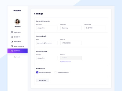 Flare: Settings form profile ux ui user dashboard settings account