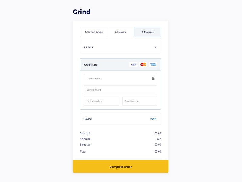 Focused checkout shopping shop order credit card payment checkout ecommerce ux ui