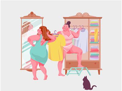 Body Positive dress figure lovely girls yourself wardrobe bodypositive fashion beauty illustration woman