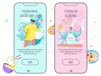 Cooking home beauty person ui grocery list vector illustration concept uiux cooking app