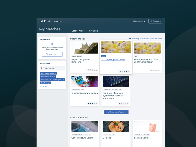 Career Area Matches matches match save search figma filter ux ui results card