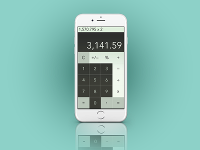 iOS Calculator Redesign Mockup for DailyUI 004. 004 dailyui forhire bayarea ardenhanna olive ux userinterface ui graphicdesign ios calculator