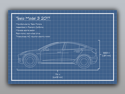 Tesla blueprint tesla image tesla model 3 blueprint by arden hanna dribbble malvernweather Images
