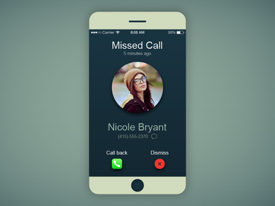 iOS Missed Call Interface Mockup for DailyUI.