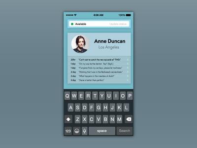 Status Update iOS Interface for DailyUI 081.
