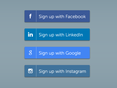 Social Media Signup Buttons for DailyUI 083.